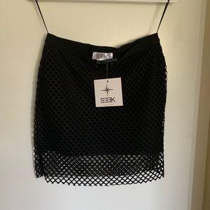 <<Seek the Label>> black net mini skirt
